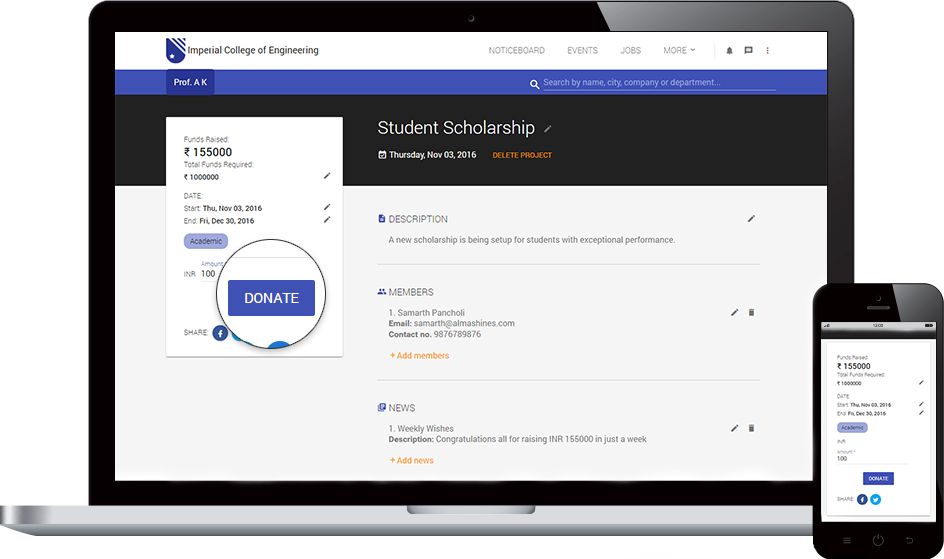 Alumni fundraising and donation portal